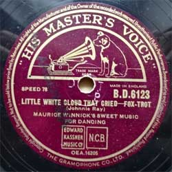 "пластинка патефонная MAURICE WINNICK'S SWEET MUSIC FOR DANCING ""Little White Cloud That Cried (foxtrot) - It's All In The Game (waltz)"" (UK press, vg+) (PG501)"