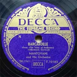 "пластинка патефонная MANTOVANI AND HIS ORCHESTRA ""Barcarolle - So Deep Is The Night"" (UK press, ex-) (PG536)"