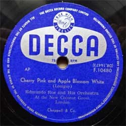 "пластинка патефонная EDMUNDO ROSS AND HIS ORCHESTRA ""Cherry Pink And Apple Blossom White - Ole Mambo"" (UK press, ex+) (PG540)"