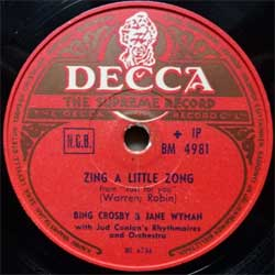 "пластинка патефонная BING CROSBY & JANE WYMAN ""Zing A Little Zong""/JANE WYMAN ''The Maiden Of Guadalupe''  (1952 Finnish press, vg+) (PG547)"