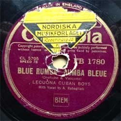 "пластинка патефонная LECUONA CUBAN BOYS ""Blue Rumba (Rumba Bleue) - Coubanakan Rumba (foxtrot)"" (1936 UK press, vg) (PG553)"