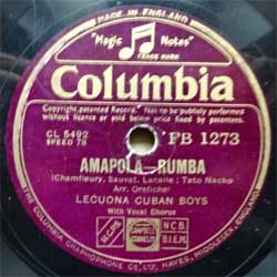 "пластинка патефонная LECUONA CUBAN BOYS ""Amapola (rumba) - Tabou (afro-cubano)"" (UK press, vg+) (PG554)"