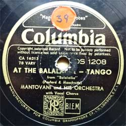 "пластинка патефонная MANTOVANI AND HIS ORCHESTRA ""At The Balalaika (tango from ""Balalaika"") - White Sails Beneath A Yellow Moon (foxtrot)"" (Swedish press, vg+) (PG563)"