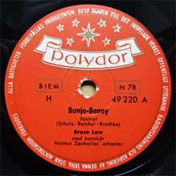 "пластинка патефонная BRUCE LOW ""Banjo-Benny (foxtrot) - So viel Wind und keine Segel (foxtrot)"" (1952 Swedish press, ex) (PG582)"
