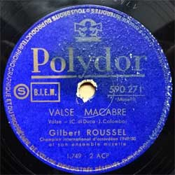 "пластинка патефонная GILBERT ROUSSEL ""Idylle Iaponaise (valse) - Valse Macabre (valse)"" (French press, vg+) (PG584)"