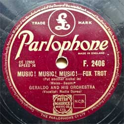 "пластинка патефонная GERALDO AND HIS ORCHESTRA ""Music! Music! Music! (Put Another Nickel In) (foxtrot) - The Old Master Painter"" (около 1949 UK press, vg+) (PG603)"