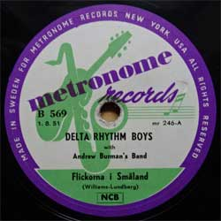 "пластинка патефонная DELTA RHYTHM BOYS with ANDREW BURMAN'S BAND ""Flickorna I Smaland - Tre Trallande Jantor"" (1951 Swedish press, vg+) (PG610)"