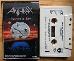 аудиокассета ANTHRAX ''Persistence Of Time'' (1990 USA press, Dolby, C 183468/422-846 480-4, mint/ex+) (MC3356)