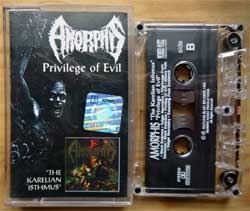 аудиокассета AMORPHIS ''Privilege Of Evil/The Karelian Isthmus'' (1993/1992 RI 1995 Poland press, holographic ZAIKS sticker, 073, mint/mint) (MC3711) (D)
