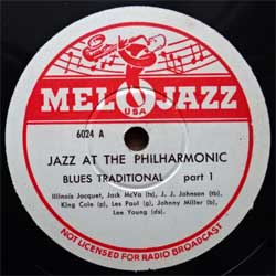 пластинка патефонная JAZZ AT THE PHILHARMONIC ''Blues Traditional part 1 & part 2'' (10'' шеллак 78 об) (USA press, 6024 A/B, near mint/sfc) (D)