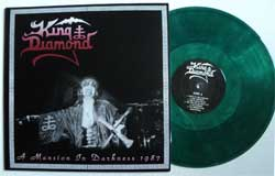 винил LP KING DIAMIOND ''A Mansion In Darkness 1987'' (2012 RARE German press, clear green vinyl, limited edition 100 copies, handnumbered (# 056), new)