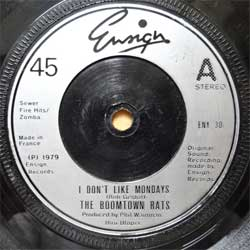 винил LP BOOMTOWN RATS ''I Don't Like Mondays'' (7''single) (1979 France press, ENY 30, vg+/sfc)