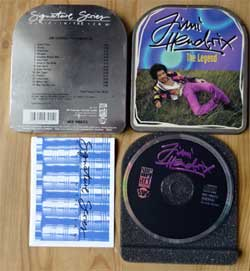 CD IN METAL BOX: JIMI HENDRIX ''The Legend'' (Signature Series/Music In The Can)'' (1994 German RARE press, booklette, WZ 98015, matrix 2xDanDisc WZ 98015 94111512, near mint/ex-)  (CD)