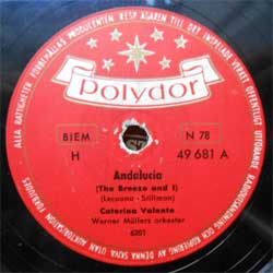 пластинка патефонная CATERINA VALENTE & Werner Mullers orkester ''Andalucia (The Breeze and I) - Jalousie'' (1955 Sweden press, vg+) (PG257) (10'' шеллак 78 об)