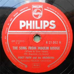 пластинка патефонная PERCY FAITH AND HIS ORCHESTRA ''The Song From Moulin Rouge (Where Is Your Heart) - Swedish Rhapsody (Midsummer Vigil)'' (1953 UK press, ex) (PG275) (10'' шеллак 78 об)