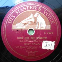пластинка патефонная PERRY COMO with HUGO WINTERHALTER's Orchestra and Chorus ''Look Out The Window - Wanted'' (1954 Sweden press, vg+) (PG276) (10'' шеллак 78 об)