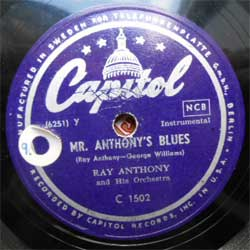 пластинка патефонная RAY ANTHONY and His Orchestra ''Mr. Anthony's Blues - Coock's Tour'' (Sweden press, vg+) (PG278) (10'' шеллак 78 об)
