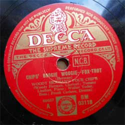 пластинка патефонная WOODY HERMAN'S FOUR CHIPS ''Chips' Boogie Woogie (Fox-Trot) - Chip's Blues (Fox-Trot)'' (UK press, vg+) (PG279) (10'' шеллак 78 об)
