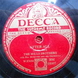 пластинка патефонная MILLS BROTHERS with Hal McIntyre and his Orchestra ''After All - The Glow Worm'' (1952 UK press, ex-) (PG282) (10'' шеллак 78 об)