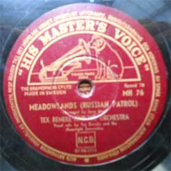 пластинка патефонная TEX BENEKE AND HIS ORCHESTRA ''Meadowlands (Russian Patrol) - Makin' Love Mountain Style'' (1946 Sweden press, vg+) (PG293) (10'' шеллак 78 об)