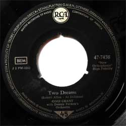 винил LP GOGI GRANT with Denis Farnon's Orchestra ''Two Dreams''- GOGI GRANT wiyh Shorty Rogers and his Orchestra and Chorus ''Honey, Honey (Kiss Me)'' (7''single) (1958 German press, sfc, vg)
