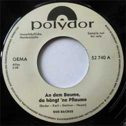 винил LP GUS BACKUS ''And dem Baume, do hangt 'ne Pflaume - Sing c'est la vie'' (7''single) (1966 German RARE TEST PRESS, sfc, vg+)