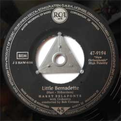 винил LP HARRY BELAFONTE with Orchestra conducted by BOB CORMAN ''Little Bernadette - Mo Mary'' (7''single) (1958 German press, sfc, ex+)