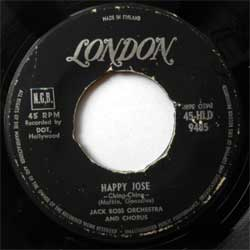 винил LP JACK ROSS ORCHESTRA AND CHORUS ''Happy Jose (Ching-Ching) - Sweet Georgia Brown'' (7''single) (1961 Finland press, sfc, vg-)